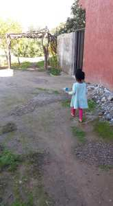 Aaliya in Morocco with no shoes
